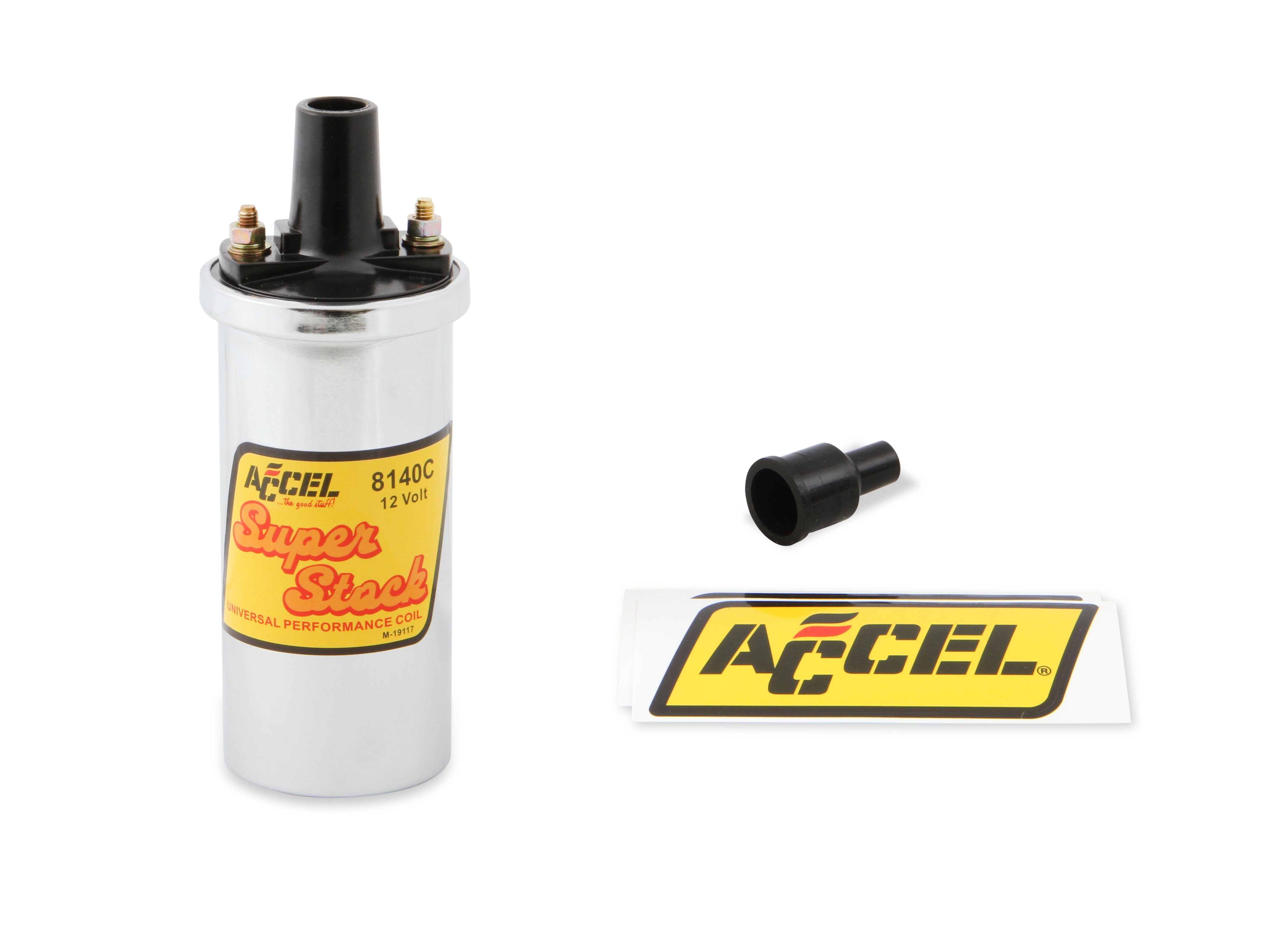 ACCEL 8140C ACCEL Ignition Coil - Chrome - 42000v 1.4 ohm primary - Points  - good up to 6500 RPMHolley