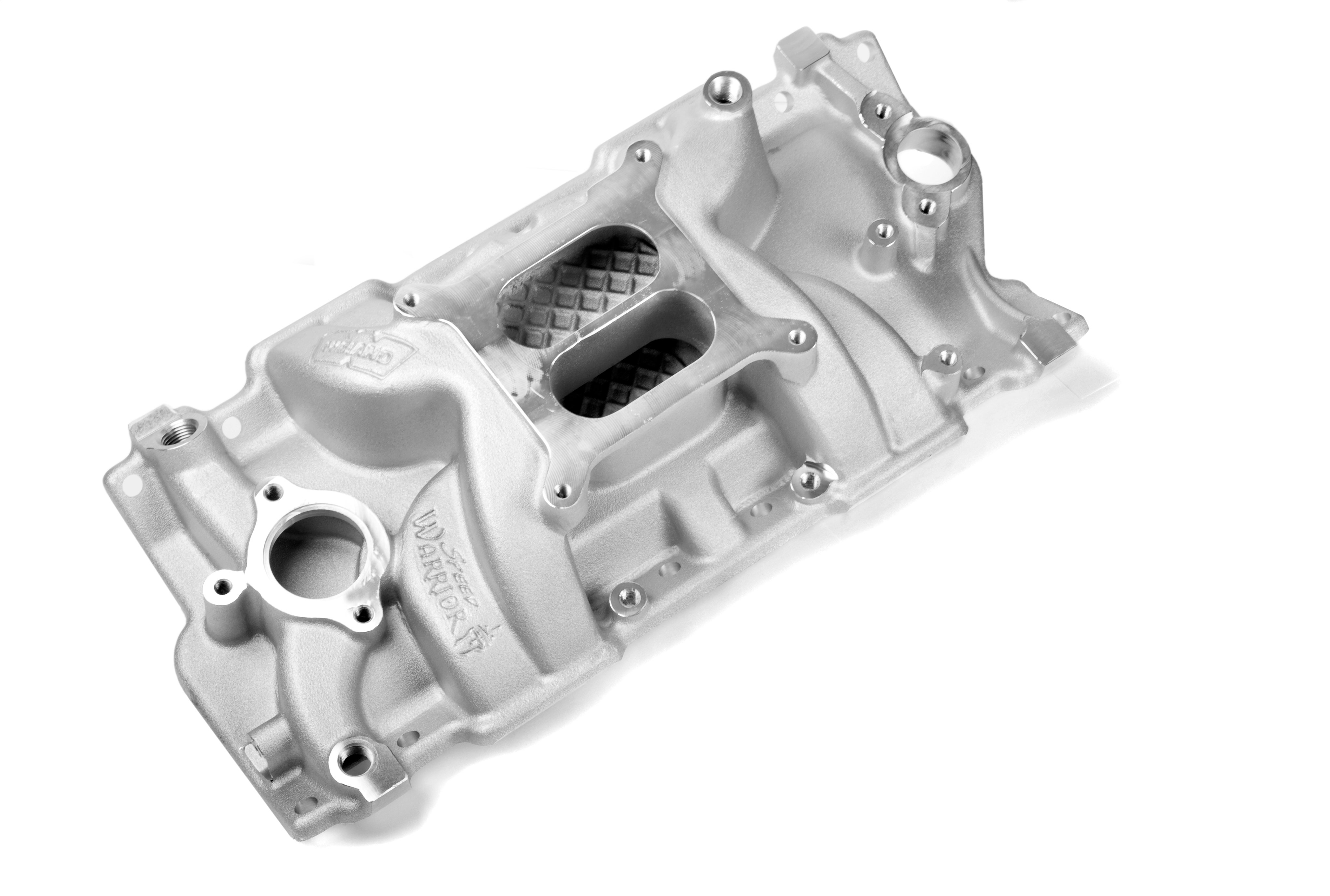 Weiand Intake Manifold 8150; Speed Warrior Dual Plane Satin Aluminum for SBC