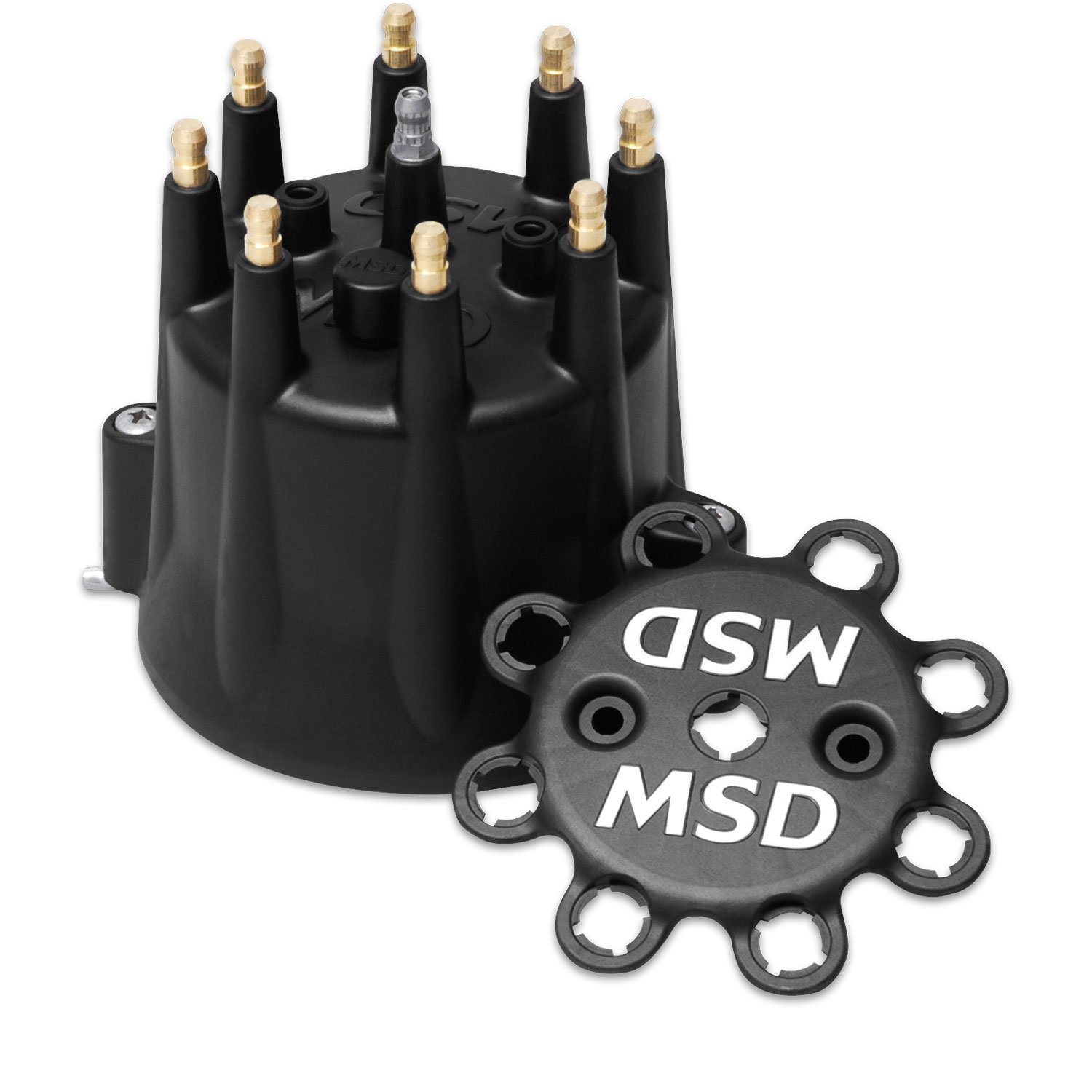 Black Distributor Cap for Chevy V8, HEI, Retainer