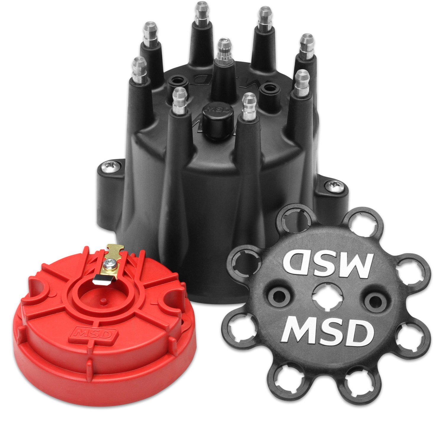 Msd 84336 Black Chevy V8 Hei Distributor Cap And Rotor Conversion Image