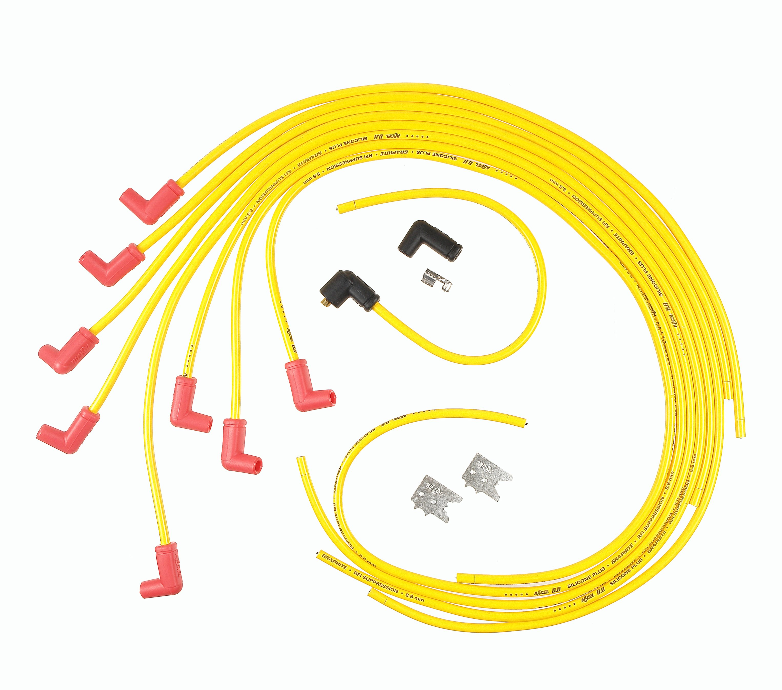 ACCEL 8021ACC Spark Plug Wire Set - 8.8mm - Universal 90° Boots - Yellow