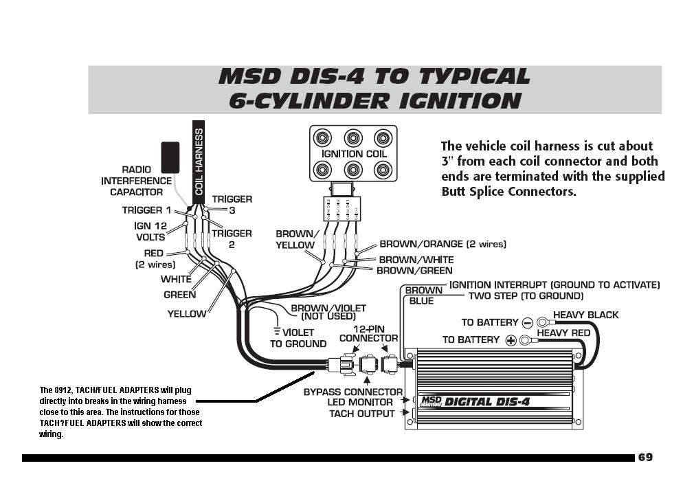 ford 6 cylinder to dis 4 with tach adapters holley blog MSD Distributor Wiring Diagram MSD Digital 6AL Wiring