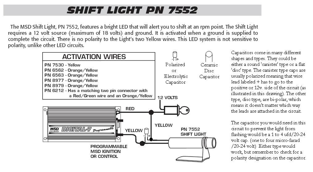 msd digital 7531 wiring diagram 7752 shift light with cap holley blog  7752 shift light with cap holley blog