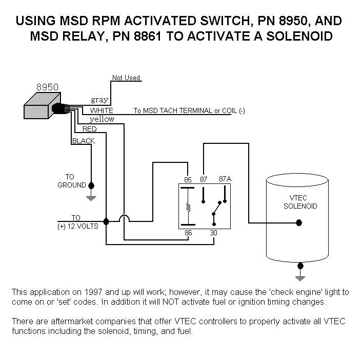 honda vtec solenoid with 8950 and relay msd blog rh msdperformance com msd rpm activated switch 8950 wiring diagram MSD 6AL Installation Dodge 5.2L Magnum