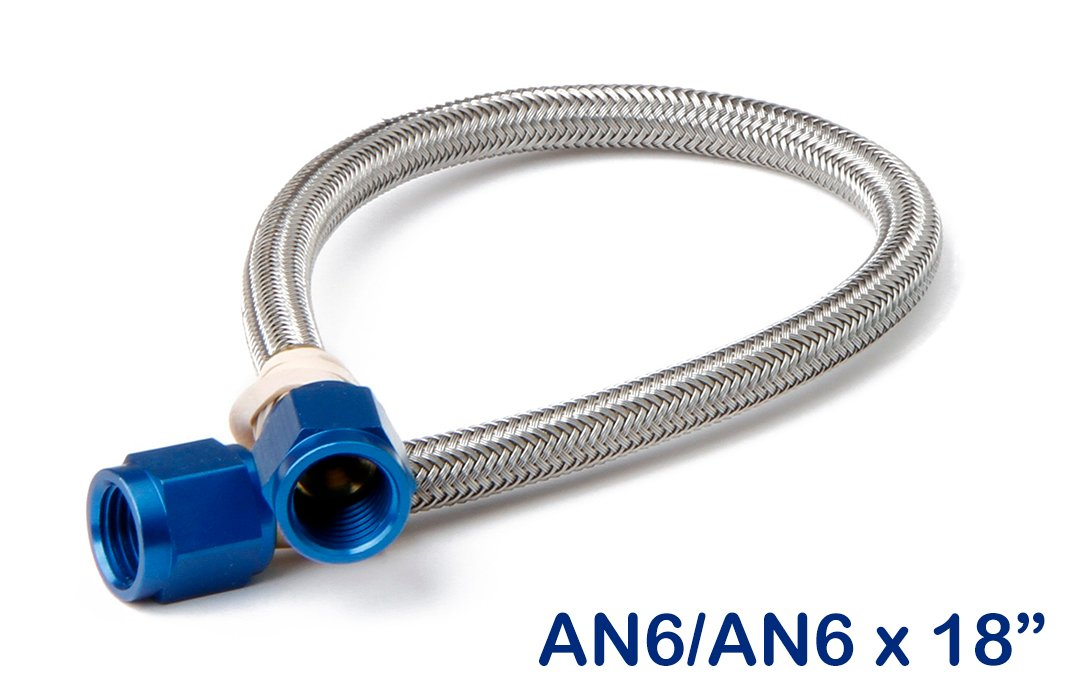 Nos stainless steel braided hose an quot blue