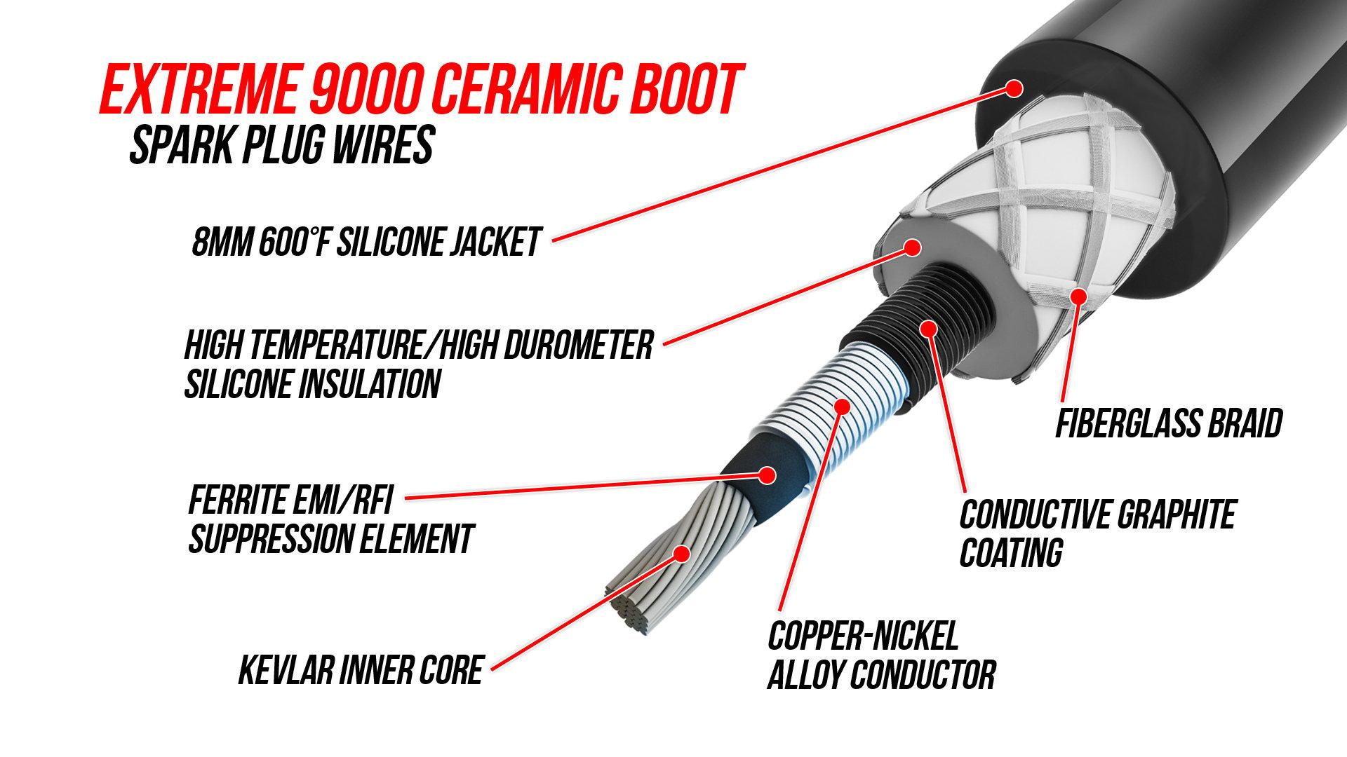 ACCEL 9039C Ceramic Spark Plug Wire Set for Dodge 92-01 ACC 9039C