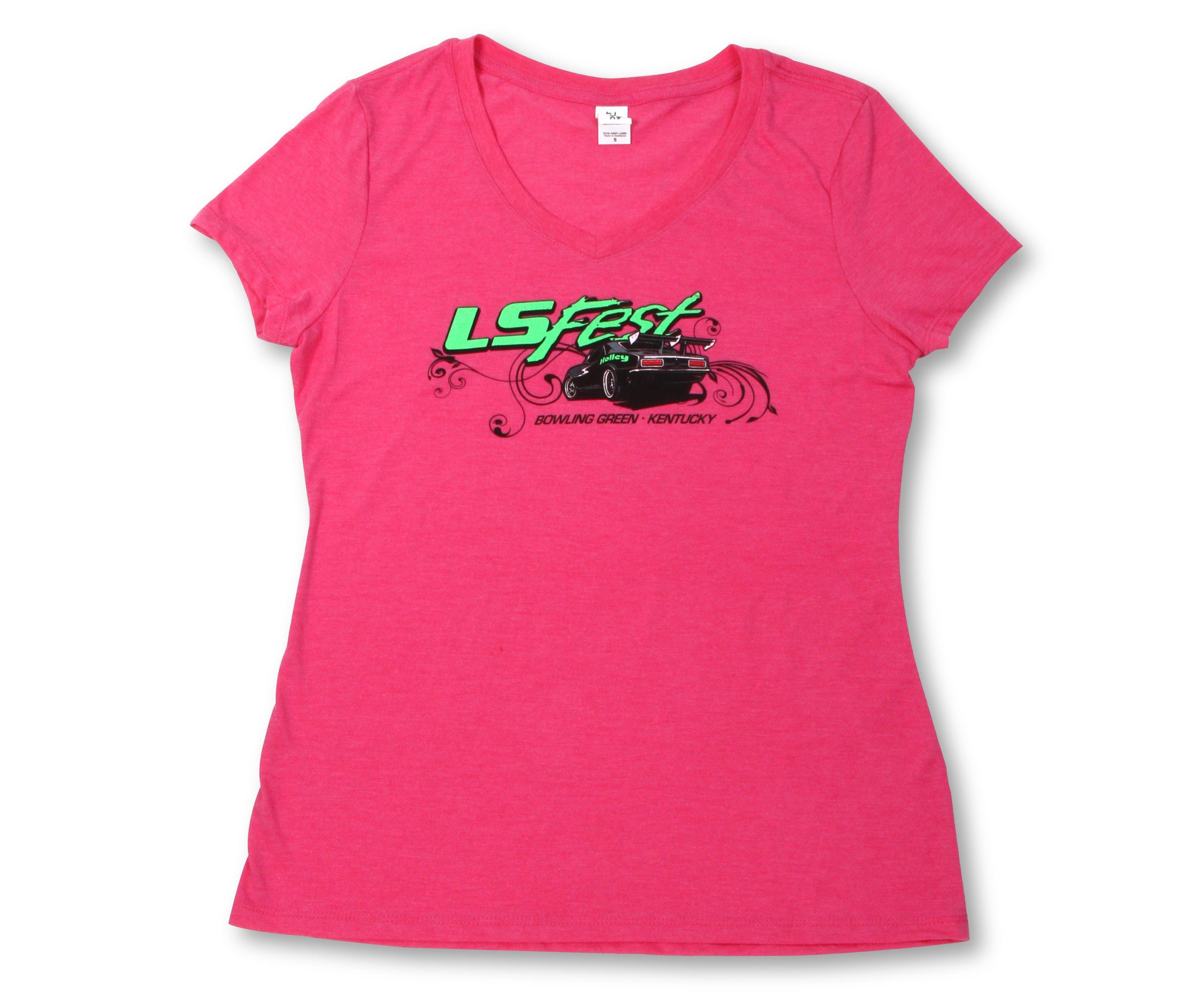 Holley 10110 mdhol ladies hot pink v neck tee for Pink ladies tee shirts