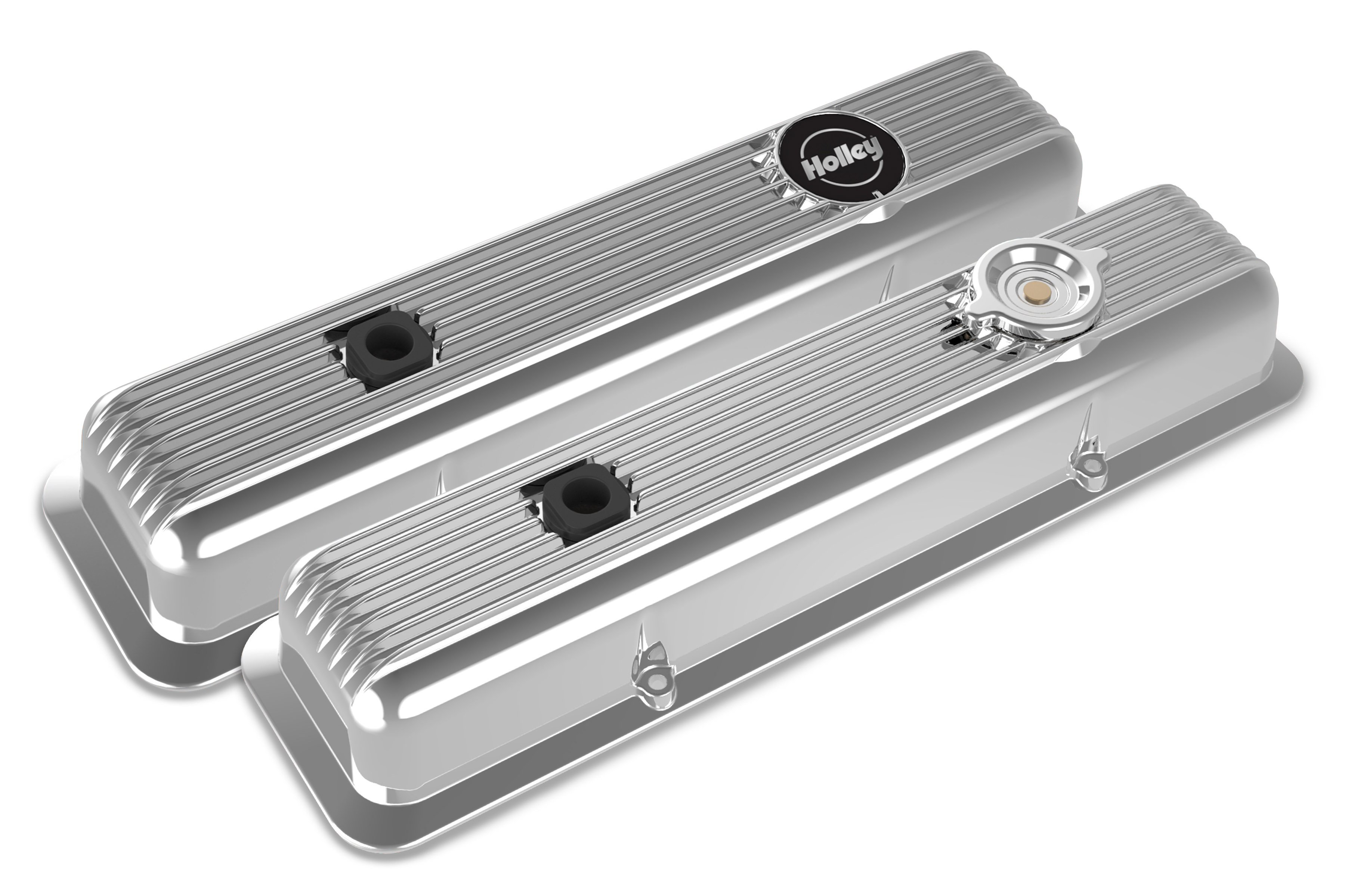 Muscle Series Valve Covers for Small Block Chevy Engines - Polished Finish