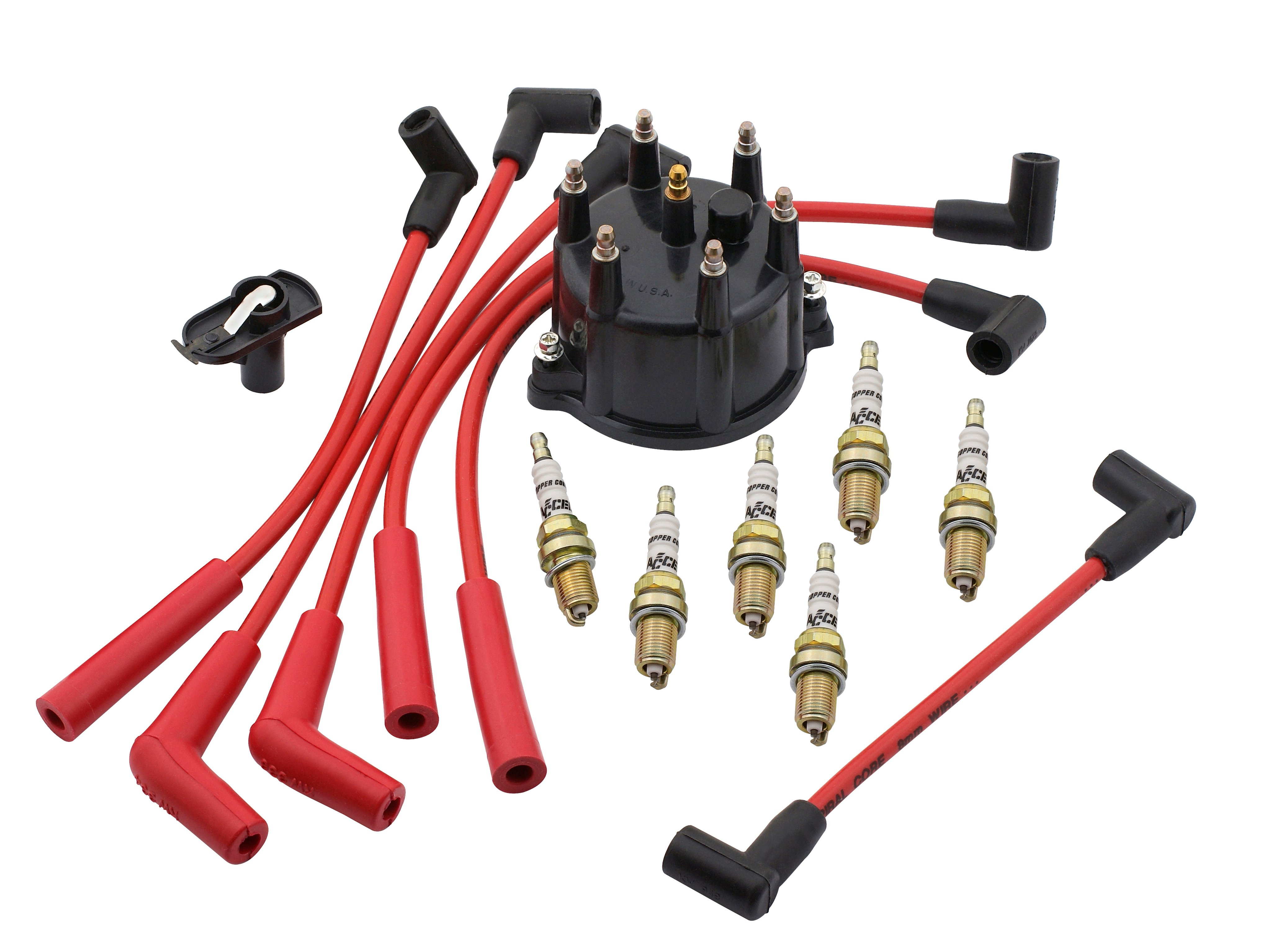 Red ACCEL 5129R 8mm Super Stock Spiral Custom Wire Set
