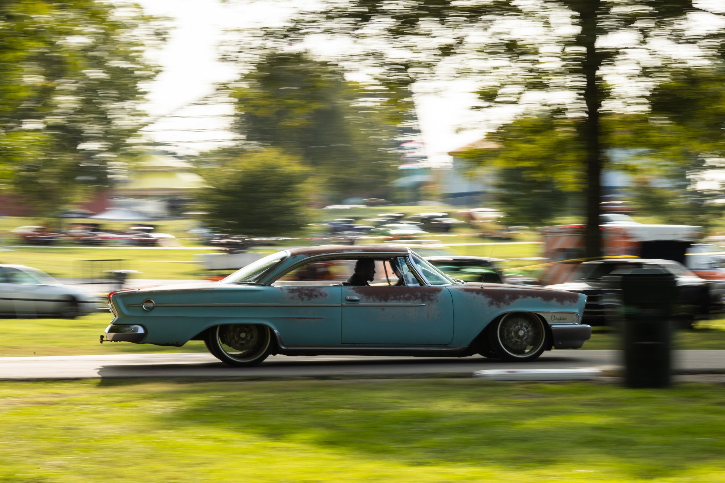 1962 Chrysler 300 driving at Beech Bend Raceway