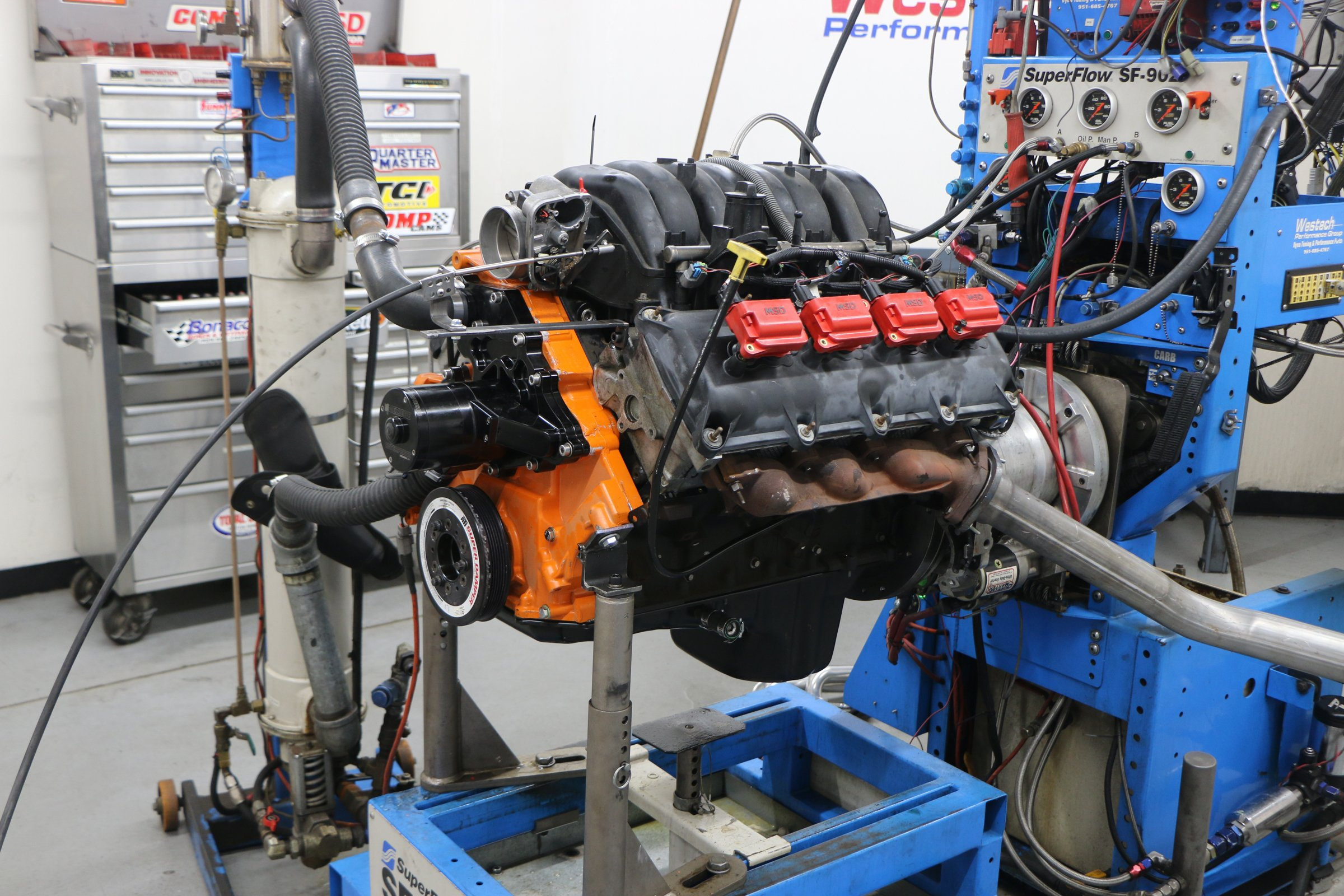 5.7L header test stock manifold