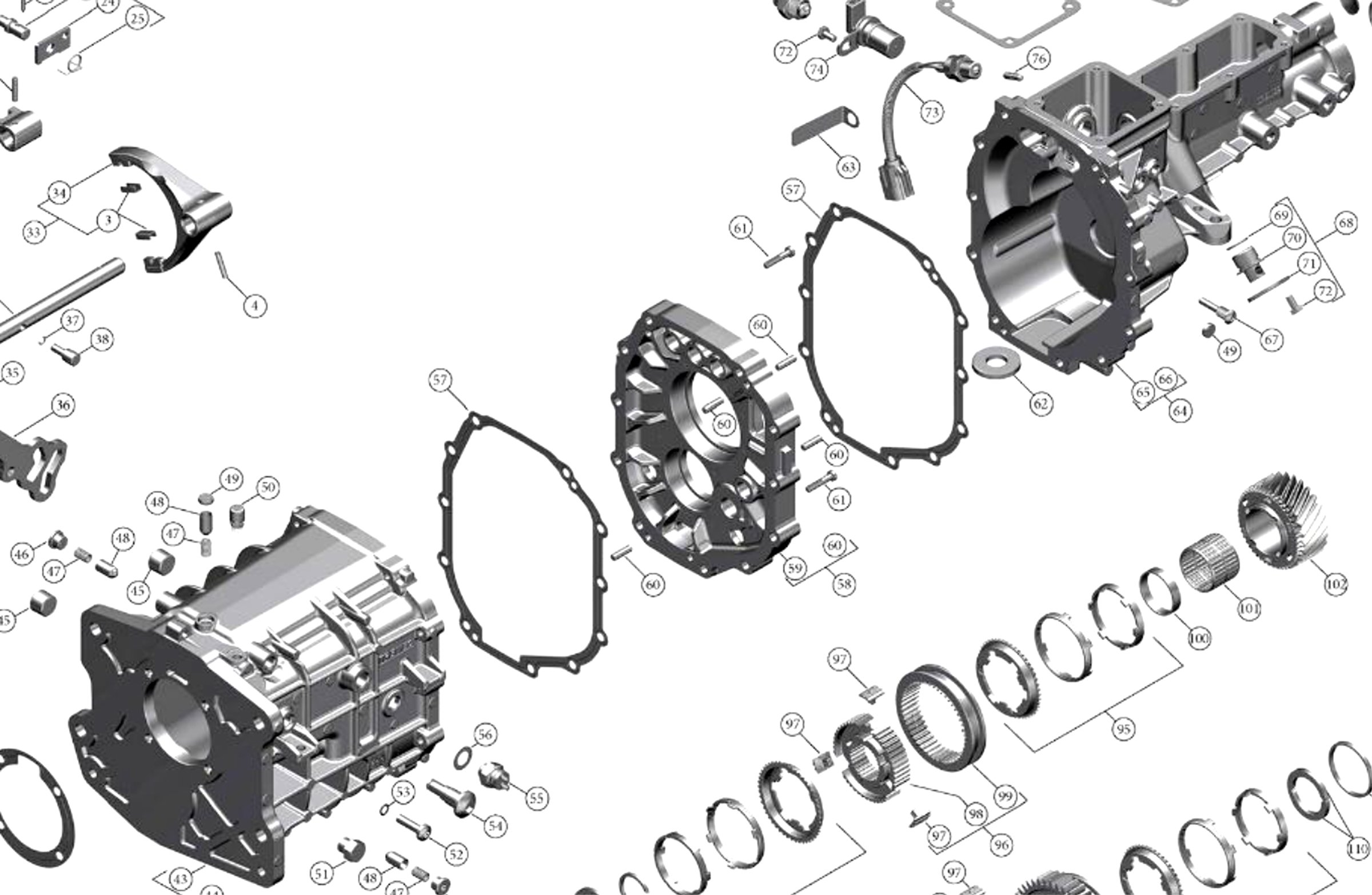 Tremec TKX exploded view