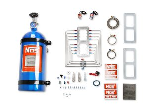 NOS Supercharger Nitrous System, Polished Injector Plate, Red & Blue Plumbing, Blue Bottle