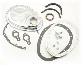 Timing Cover - Quick Change - 2-Piece - Small Block Chevy - Chrome Plated