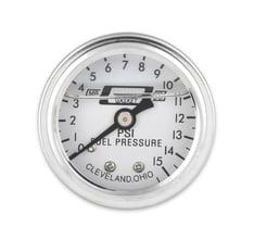 "Chrome white 0-15 psi Dry 1-1//2/"" Pressure Fuel Gauge Mechanical 1.5/"" Racing SBC"