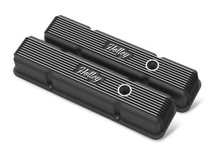 SBC Vintage Series Finned Valve Covers - Satin Black Machined Finish