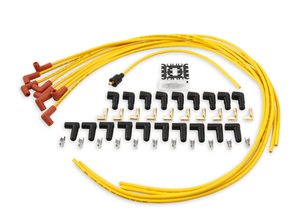 Spark Plug Wire Set - 8mm - Yellow with Orange 90 Deg Boots