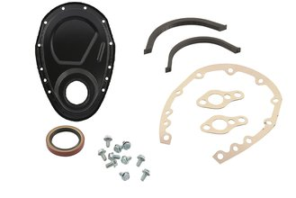 Mr. Gasket Timing Cover Kit - Flat Black - Small Block Chevy