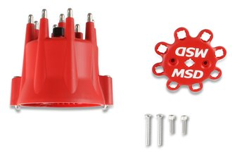 Red, V8 Distributor Cap With HEI Terminals and Spark Plug Wire Retainer