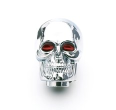 Mr. Gasket Shifter Knob - Chrome - Skull With Red Eyes